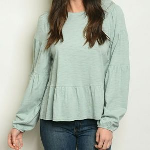 NWT Sage Ruffled Hem Bubble Sleeve Top